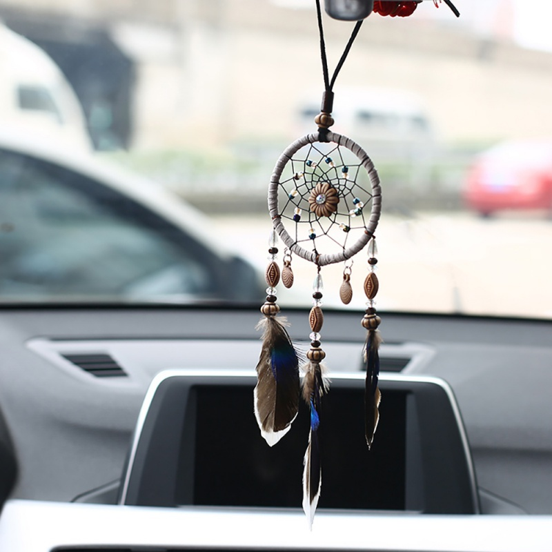 Mini Car Dream Catcher Beaded Natural Feathers Handcraft Chic Hanging Ornaments Mirror Bedroom Wall