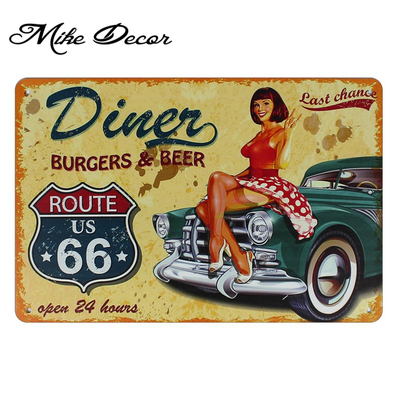 Mike86 ] Garage Pin up Lady Route66 Tin sign Art wall decoration ...