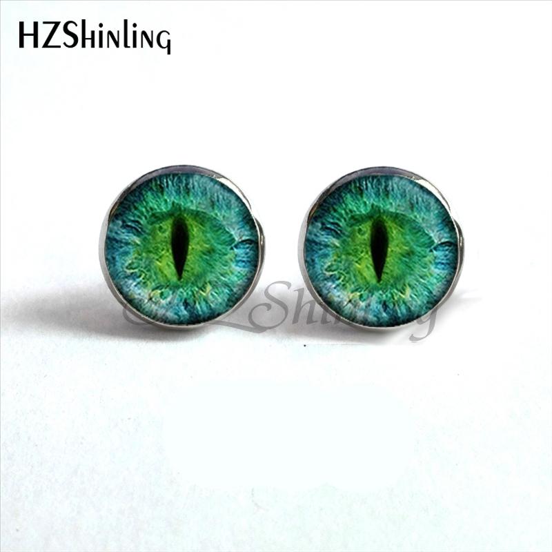 NES-0046 Dragon Eye Stud Earrings Green Blue or Purple Eye Ear Nail ...