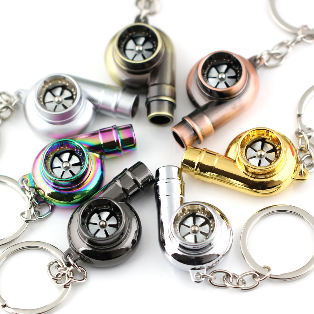 Real Whistle Sound Turbo Keychain Spinning Auto Part Model Turbocharger  Turbine Key Chain Ring Keyring Keyfob Key Holder